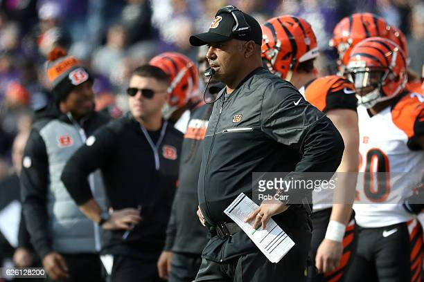 Head coach Marvin Lewis of the Cincinnati Bengals looks on against the Baltimore Ravens in the first quarter at MT Bank Stadium on November 27 2016...