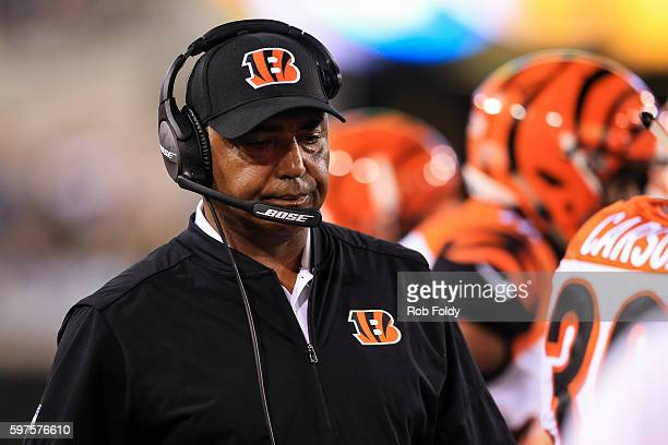 Head coach Marvin Lewis of the Cincinnati Bengals looks on during the second half of the preseason game against the Jacksonville Jaguars at EverBank...