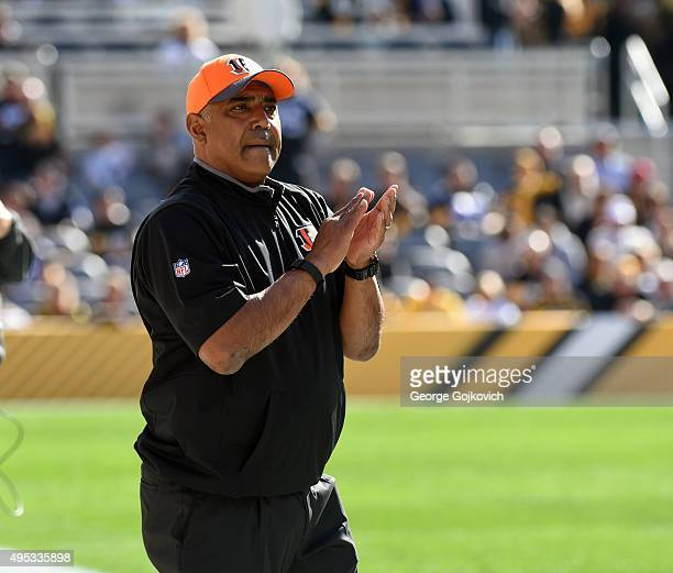 Head coach Marvin Lewis of the Cincinnati Bengals looks on from the sideline during a game against the Pittsburgh Steelers at Heinz Field on November...