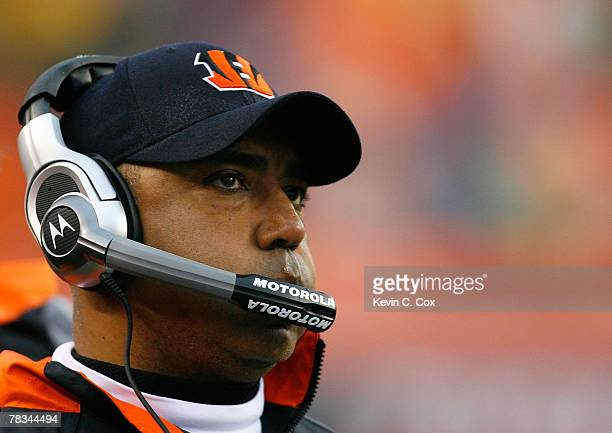 Head coach Marvin Lewis of the Cincinnati Bengals looks on from the sidelines during the second half against the St Louis Rams at Paul Brown Stadium...