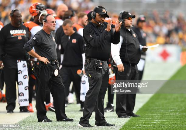Head coach Marvin Lewis of the Cincinnati Bengals looks on from the sideline in the first half during the game against the Pittsburgh Steelers at...