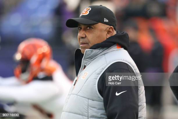 Head Coach Marvin Lewis of the Cincinnati Bengals looks on from the sidelines prior to the game against the Baltimore Ravens at MT Bank Stadium on...