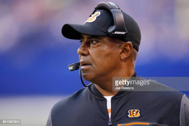 Head coach Marvin Lewis of the Cincinnati Bengals looks on in the first half of a preseason game against the Indianapolis Colts at Lucas Oil Stadium...