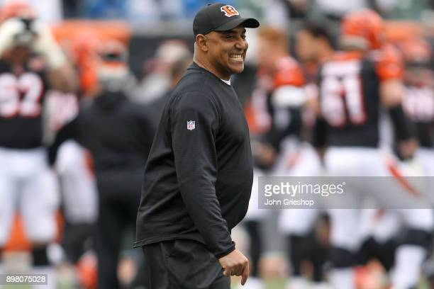 Head coach Marvin Lewis of the Cincinnati Bengals looks on prior to the game against the Detroit Lions at Paul Brown Stadium on December 24 2017 in...