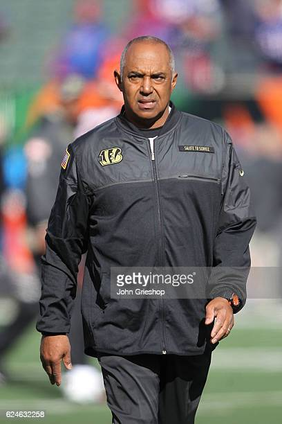 Head Coach Marvin Lewis of the Cincinnati Bengals walks on the field during pregame warmups prior to the start of the game against the Buffalo Bills...