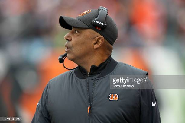 Head coach Marvin Lewis of the Cincinnati Bengals walks on the sideline during the second quarter of the game against the Oakland Raiders at Paul...