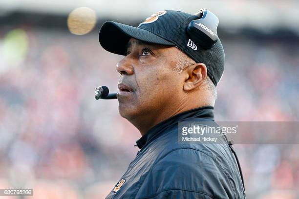 Head Coach Marvin Lewis of the Cincinnati Bengals watches a replay as his team takes on the Baltimore Ravens during the second quarter at Paul Brown...
