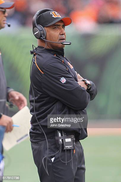 Head Coach Marvin Lewis of the Cincinnati Bengals watches his team from the sidelines during the game against the St Louis Rams at Paul Brown Stadium...