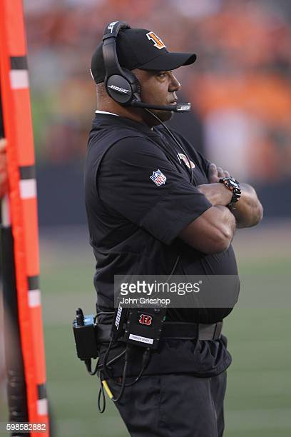 Head Coach Marvin Lewis of the Cincinnati Bengals watches his team from the sidelines during the game against the Indianapolis Colts at Paul Brown...