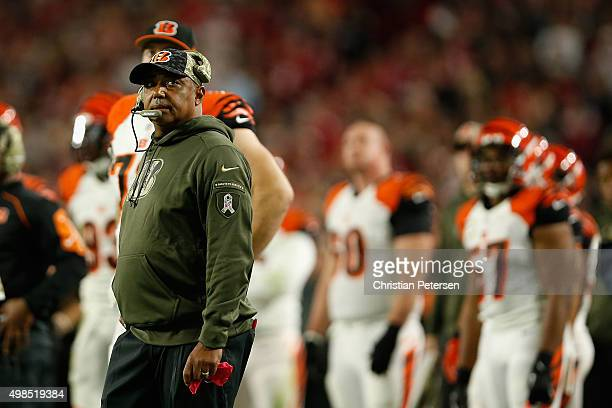Head coach Marvin Lewis of the Cincinnati Bengals watches the action during the NFL game against the Arizona Cardinals at the University of Phoenix...