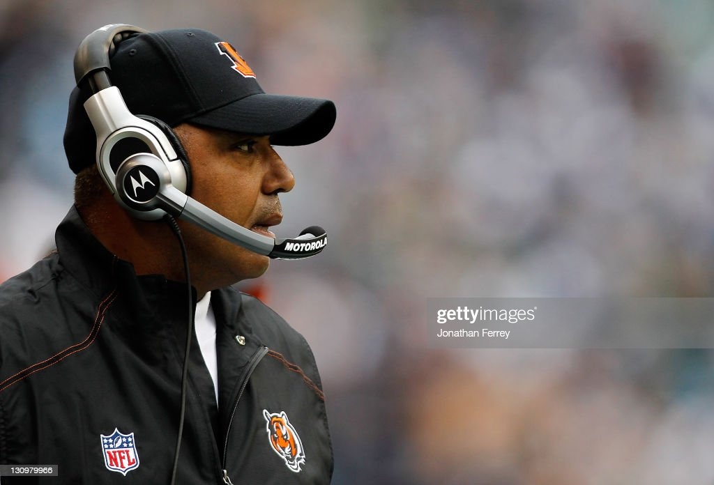 Head Coach Marvin Lewis of the Cincinnati Bengals watches the game against the Seattle Seahawks on October 30, 2011 at CenturyLink Field in Seattle, Washington.