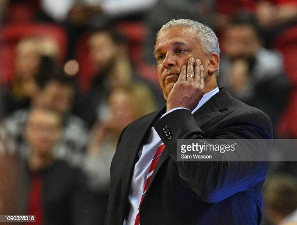 Head coach Marvin Menzies of the UNLV Rebels looks on during his team's game against the Wyoming Cowboys at the Thomas Mack Center on January 05 2019...