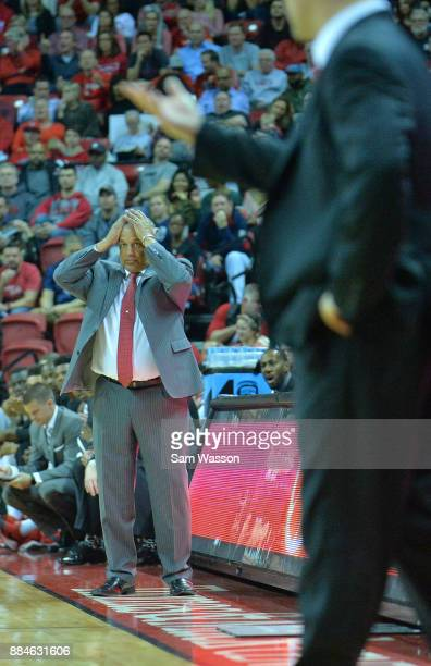 Head coach Marvin Menzies of the UNLV Rebels reacts to a play during his team's game against the Arizona Wildcats at the Thomas Mack Center on...