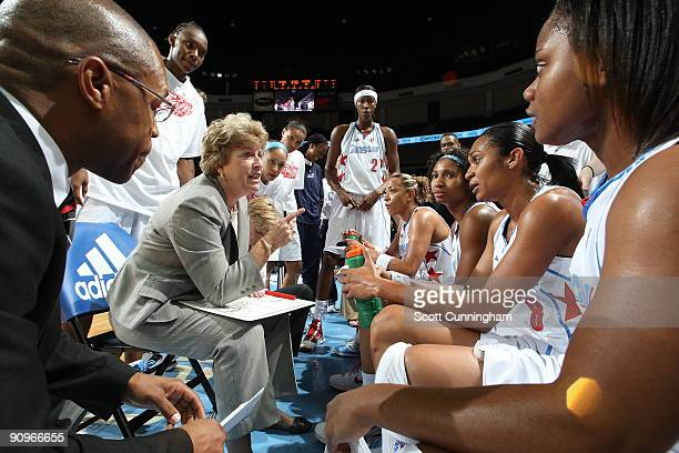 Head Coach Marynell Meadors of the Atlanta Dream gives instructions during a timeout in Game 2 of the WNBA Eastern Conference Semifinals against the...