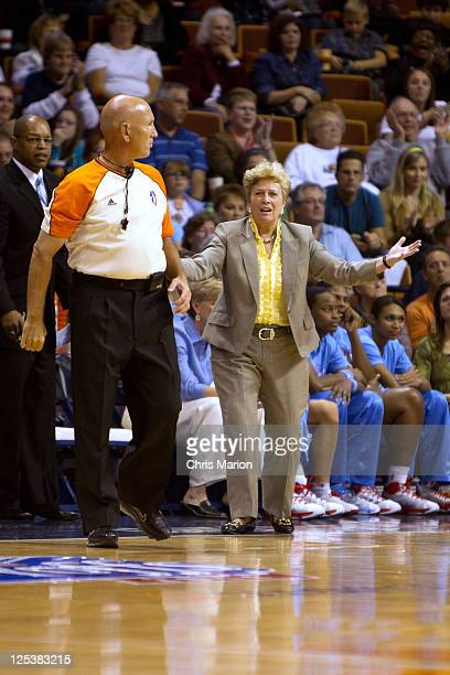 Head coach Marynell Meadors of the Atlanta Dream questions a call against the Connecticut Sun in Game One of the Eastern Conference Semifinals during...