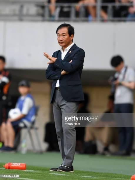 Head coach Masahiro Shimoda of Renofa Yamaguchi gestures during the J.League J2 match between JEF United Chiba and Renofa Yamaguchi at Fukuda Denshi...