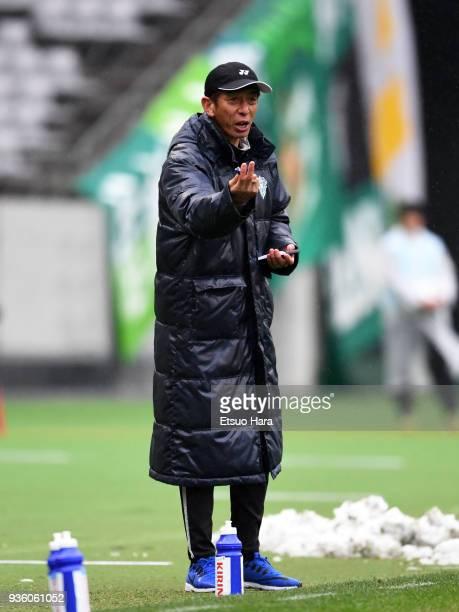 Head coach Masami Ihara of Avispa Fukuoka gestures during the JLeague J2 match between Tokyo Verdy and Avispa Fukuoka at Ajinomoto Stadium on March...