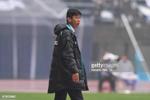 Head coach Masami Ihara of Avispa Fukuoka looks on during the JLeague J1 Promotion PlayOff semi final match between Avispa Fukuoka and Tokyo Verdy at...