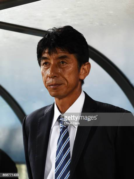 Head coach Masami Ihara of Avispa Fukuoka looks on prior to the JLeague J2 match between Yokohama FC and Avispa Fukuoka at Nippatsu Mitsuzawa Stadium...