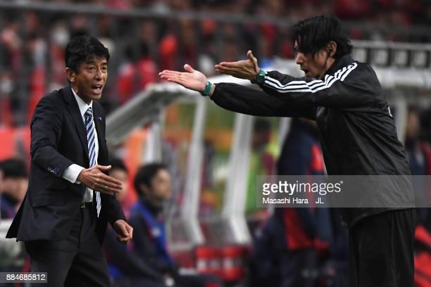 Head coach Masami Ihara of Avispa Fukuoka protests to the fourth offical during the JLeague J1 Promotion PlayOff Final between Nagoya Grampus and...