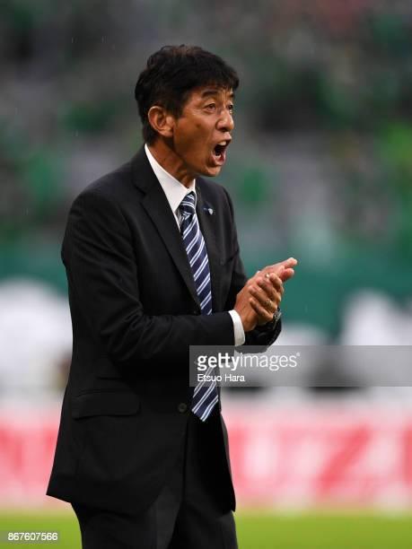 Head coach Masami Ihara of Avispa Fukuoka shouts during the JLeague J2 match between Tokyo Verdy and Avispa Fukuoka at Ajinomoto Stadium on October...