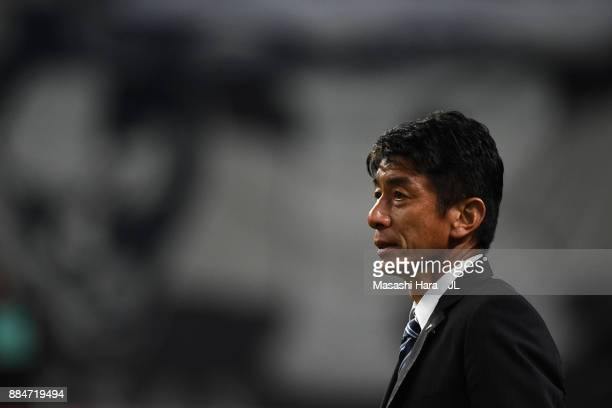 Head coach Masami Ihara of Avispa Fukuoka shows dejection as they missed the promotion after the scoreless draw in the JLeague J1 Promotion PlayOff...