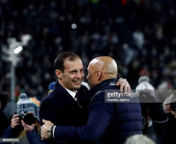 Head Coach Massimiliano Allegri of FC Juventus talks with Head Coach Luciano Spalletti of FC Internazionale before the start of the Serie A football...