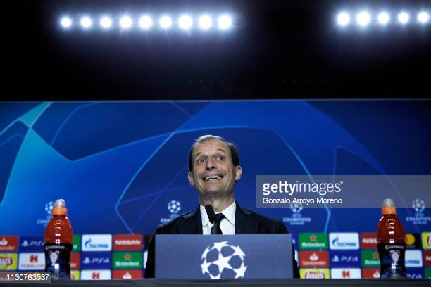 Head coach Massimiliano Allegri of Juventus attends a press conference ahead of their UEFA Champions League Round of 16 first leg match between...