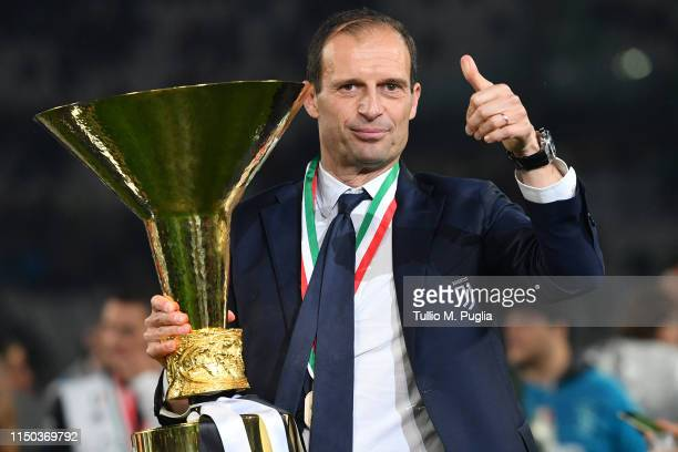Head coach Massimiliano Allegri of Juventus celebrates during the awards ceremony after winning the Serie A Championship during the Serie A match...