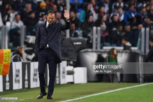 Head coach Massimiliano Allegri of Juventus greets supporters during the Serie A match between Juventus and Atalanta BC on May 19 2019 in Turin Italy