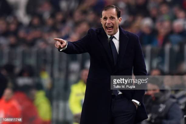 Head coach Massimiliano Allegri of Juventus issues instructions during the Serie A match between Juventus and Chievo at Allianz Stadium on January 21...
