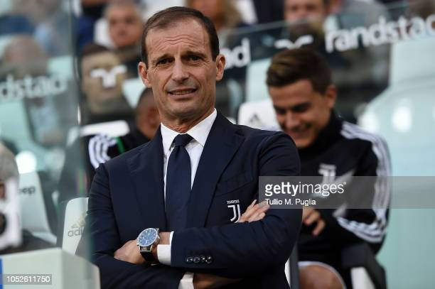 Head coach Massimiliano Allegri of Juventus looks on during the Serie A match between Juventus and Genoa CFC at Allianz Stadium on October 20 2018 in...
