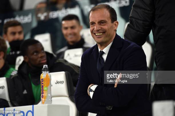 Head coach Massimiliano Allegri of Juventus looks on during the Serie A match between Juventus and Udinese at Allianz Stadium on March 08 2019 in...