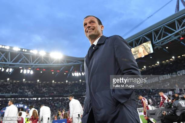Head coach Massimiliano Allegri of Juventus looks on during the Serie A match between Juventus and Torino FC on May 03 2019 in Turin Italy