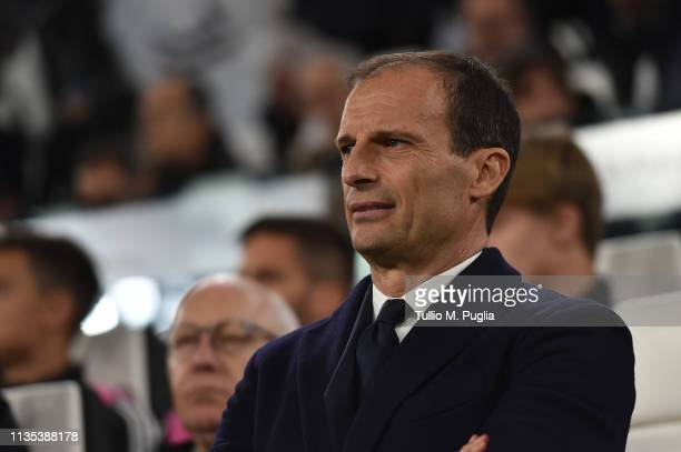 Head coach Massimiliano Allegri of Juventus looks on during the UEFA Champions League Round of 16 Second Leg match between Juventus and Club de...