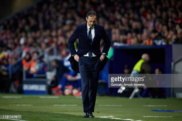 Head coach Massimiliano Allegri of Juventus reacts during the UEFA Champions League Round of 16 First Leg match between Club Atletico de Madrid and...
