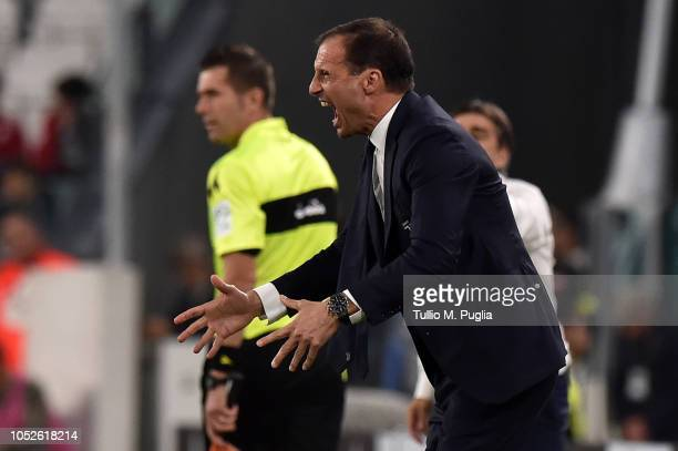 Head coach Massimiliano Allegri of Juventus shouts during the Serie A match between Juventus and Genoa CFC at Allianz Stadium on October 20 2018 in...