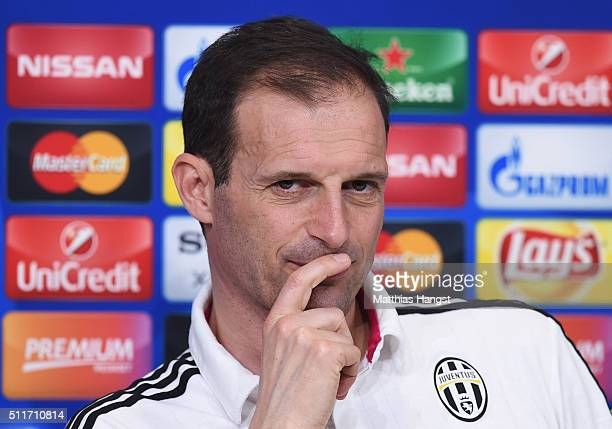 Head Coach Massimiliano Allegri talks during the Juventus press conference ahead of the UEFA Champions League match against Bayern Muenchen at...