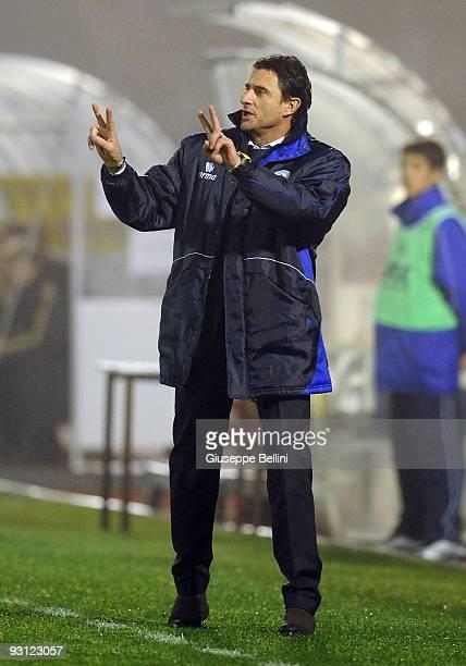Head coach Massimo Agostiini of San Marino gestures during the UEFA U 21 Championship match between San Marino and Germany at Olimpico stadium on...