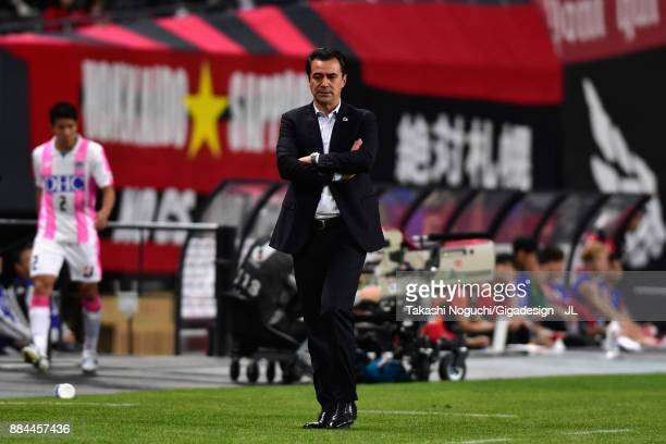 Head coach Massimo Ficcadenti of Sagan Tosu looks on during the JLeague J1 match between Consadole Sapporo and Sagan Tosu at Sapporo Dome on December...