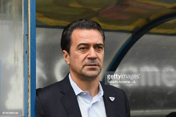 Head coach Massimo Ficcadenti of Sagan Tosu looks on prior to the JLeague J1 match between Sagan Tosu and FC Tokyo at Best Amenity Stadium on...