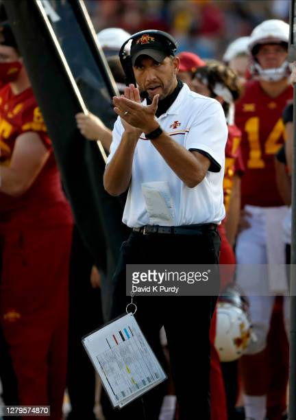 Head coach Matt Campbell of the Iowa State Cyclones applauds his teams in the second half of the play at Jack Trice Stadium on October 10, 2020 in...