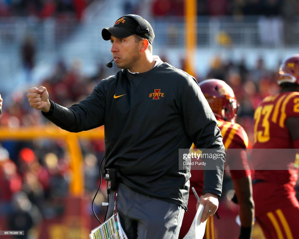 Head coach Matt Campbell of the Iowa State Cyclones coaches from the sidelines in the first half of play at Jack Trice Stadium on October 28, 2017 in Ames, Iowa.