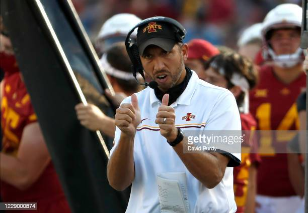 Head coach Matt Campbell of the Iowa State Cyclones gives two thumbs up after his team scored a touchdown in the second half of the play at Jack...
