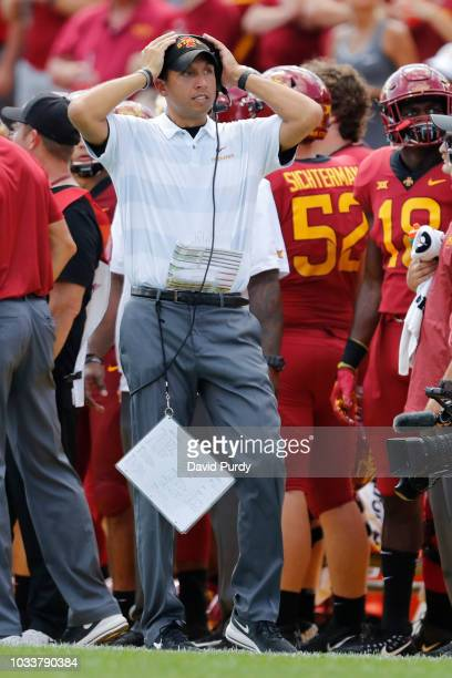 Head coach Matt Campbell of the Iowa State Cyclones reacts to a play in the second half of play against the Oklahoma Sooners at Jack Trice Stadium on...