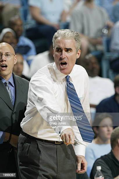 Head coach Matt Doherty of the University of North Carolina at Chapel Hill Tar Heels yells during the game against the Duke University Blue Devils at...
