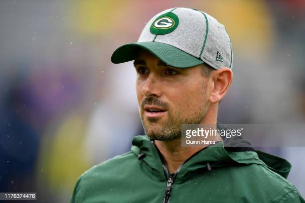 Head coach Matt LaFleur of the Green Bay Packers looks on before the game against the Denver Broncos at Lambeau Field on September 22 2019 in Green...