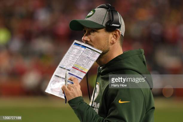 Head coach Matt LaFleur of the Green Bay Packers looks on from the sidelines against the San Francisco 49ers during the second half of the NFC...