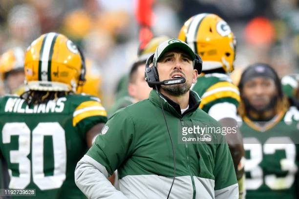 Head coach Matt LaFleur of the Green Bay Packers looks on in the second half of the game against the Washington Redskins at Lambeau Field on December...