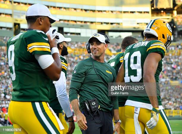 Head coach Matt LaFleur of the Green Bay Packers looks on in the first quarter against the Houston Texans during a preseason game at Lambeau Field on...